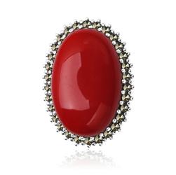 Staviori Broszka srebrna pr.925 Czerwona z owalnego Koralu z Markazytami.