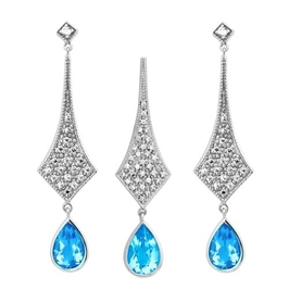 Orientalny komplet srebrnej biżuterii blue topaz 6,6 ct.