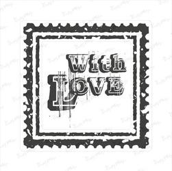 Stempel gumowy znaczek pocztowy - with love - 02