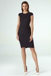 Czarna Ołówkowa Sukienka z Półrękawkiem