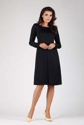 Czarna wizytowa lekko rozkloszowana sukienka z kontrafałdą