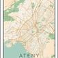 Ateny mapa kolorowa - plakat