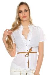 Damska koszula bawełniana z krótkim rękawkiem, zdobiona jetami | biała elegancka bluzka koszulowa 6099