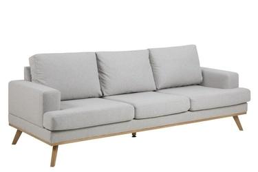 Szeroka kanapa na drewnianych nogach beverly jasnoszara