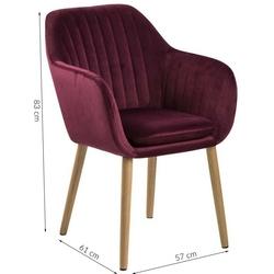 Krzesło do salonu emily bordowe welur