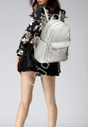 Srebrny metaliczny plecak damski