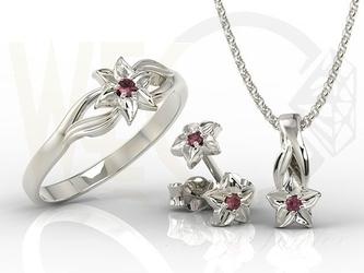 Komplet - pierścionek, kolczyki i wisiorek z białego złota z rubinami bp-14bbp-15brub - zestaw - białe  rubin