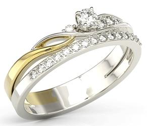 Pierścionek z białego i żółtego złota z białym szafirem, bogato zdobiony brylantami bp-77bz - białe i żółte  szafir white