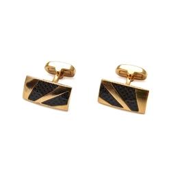 Eleganckie spinki do mankietów w kolorze złotym ze czarnym włóknem węglowym