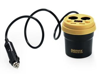 Remax cup cr-2xp ładowarka samochodowa hub rozdzielacz czarny - czarny