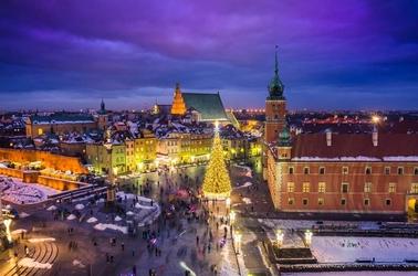 Warszawa plac zamkowy zimą - plakat premium wymiar do wyboru: 91,5x61 cm