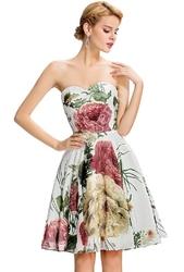 Sukienka w  kwiaty dekolt serduszko na wesele, dla druhen , na bal gimnazjalny