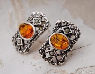 Iris - srebrne kolczyki bursztyn i perły