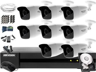 Zestaw do monitoringu podwórka, placu hikvision hiwatch hwd-6108mh-g2, 8 x hwt-b220-m, 1tb, akcesoria