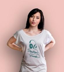 Zapętlone słuchawki t-shirt damski biały xxl