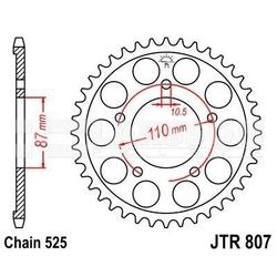 Zębatka tylna stalowa jt r807-48, 48z, rozmiar 525 2302166 suzuki sv 650