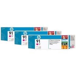 Hp 91 zestaw 3 wkładów atramentowych: purpurowy 775 ml
