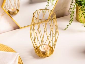 Świecznik metalowy altom design szprosowy złoty 10 x 10 x 17 cm
