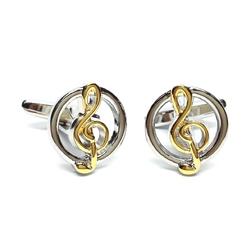 Spinki do mankietów x2 klucz wiolinowy złoty