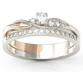 Pierścionek z białego i różowego złota z białym szafirem i brylantami bp-77bp - białe i różowe  szafir white