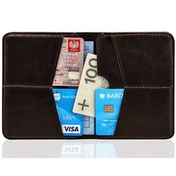 Cienki skórzany portfel męski solier sw10 brązowy - ciemny brąz