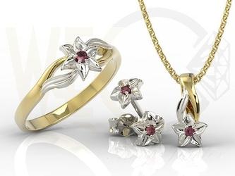 Komplet - pierścionek, kolczyki i wisiorek z żółtego i białego złota z rubinem bp-14zbbp-15zb zestaw - żółte + białe  rubin