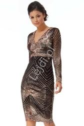 Elegancka sukienka cekinowa midi czarno złota goddiva 2617