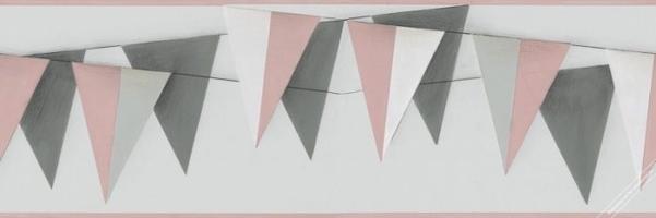 Pasek dekoracyjny chorągiewki różowo szare border marburg 45902