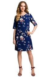 Granatowa prosta sukienka w kwiatowy deseń z jednolitą wstawką
