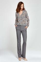 Szare Spodnie Eleganckie z Rozszerzanymi Nogawkami
