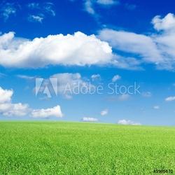 Obraz na płótnie canvas trzyczęściowy tryptyk zielone pole, błękitne niebo, białe chmury