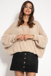 Milutki sweter oversize z dekoltem v - beżowy