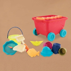Wózek – wagonik z akcesoriami do piasku, czerwony, B.toys