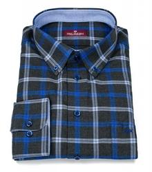 Elegancka grafitowa koszula męska VAN THORN w niebieską kratę 50