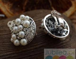 BENELUX - srebrne klipsy perły i kryształki