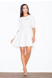 Ecru elegancka sukienka z rozkloszowanym dołem
