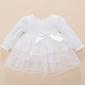Biała sukienka do chrztu z koronką i organzową spódnicą 531