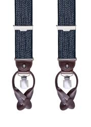 Granatowe szelki męskie do spodni uniwersalne na guziki i klipsy