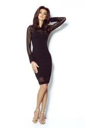 Czarna sukienka koktajlowa dopasowana z siateczką