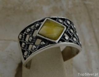 Lebia - srebrny pierścionek z bursztynem