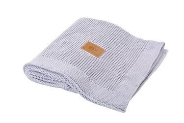 Poofi kocyk tkany z bawełny organicznej - jasny szary