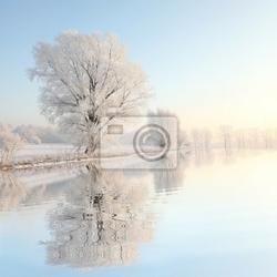 Fototapeta mroźna zima na tle błękitnego nieba z odbicia w wodzie