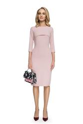 Sukienka ołówkowa z bolerkiem pudrowa s075