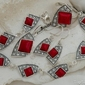 Moroni - srebrny komplet z koralem i kryształkami