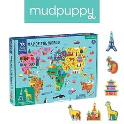 Puzzle mapa świata z elementami w kształcie budynków i zwierząt, mudpuppy 5+