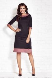 Czarna elegancka sukienka z kontrastowymi wypustkami