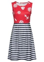 Sukienka z marynarskim nadrukiem bonprix ciemnoniebiesko-biało-czerwony wzorzysty
