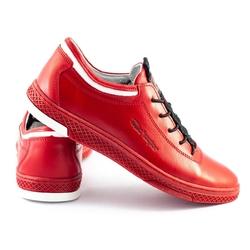 Buty męskie skórzane casual k23 czerwone
