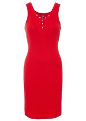 Sukienka w prążek, z guzikami bonprix truskawkowy