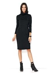 Czarna dresowa midi sukienka z golfem